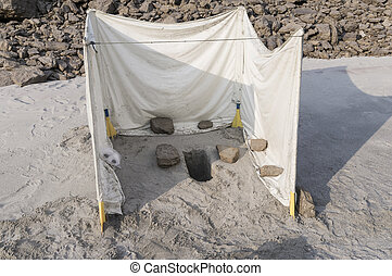 toilet in the sand - toilet used at an adventure trip. whole...