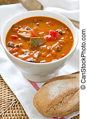 Minestrone soup - Vegetables and Beans in tomato soup by...