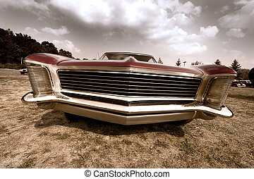 Front end of old muscle car - Wide angle shot of old muscle...
