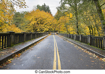 Autumn Trees Along Historic Columbia Highway Bridge Lined...