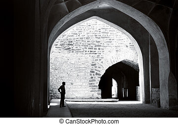 Arches - Golkonda fort in black and white