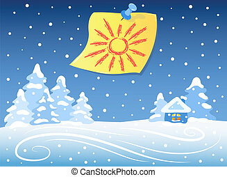 Winter landscape and sticker - The sun drawn on a sticker is...