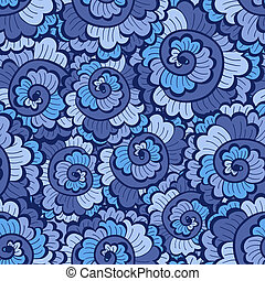 Seamless decorative wavy pattern bright blue