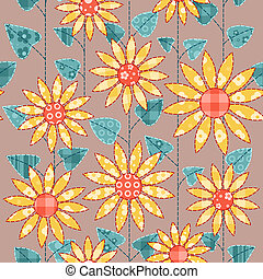Seamless background with sunflowers Patchwork vector...