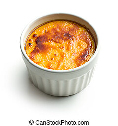 creme brulee in ceramic bowl on white background