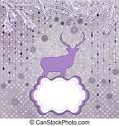 Christmas deer and snowflake. EPS 8