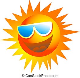 cool sun - happy cartoon sun wearing sun glasses isolated on...
