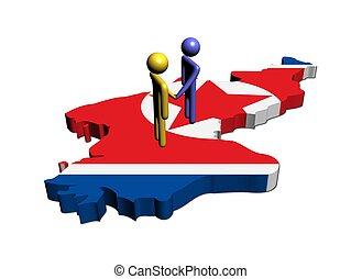 Meeting on North Korea map flag illustration