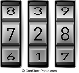 Metallic combination lock with three number. Vector...