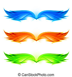 Abstract wings set Illustration on white background
