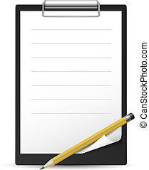 Yellow Pencil and notepad icon. Illustration on white...