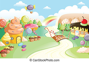 Fantasy sweet food land - A vector illustration of fantasy...