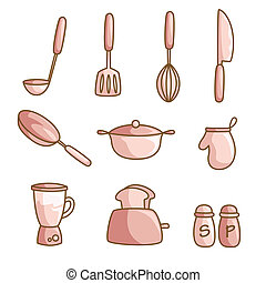 Cooking utensils - A vector illustration of a set of cooking...