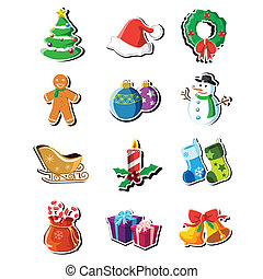 Christmas icons - A vector illustration of a collection of...