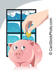 Saving for the rainy day - A vector illustration of a hand...