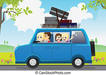 Family travel - A vector illustration of a family traveling...