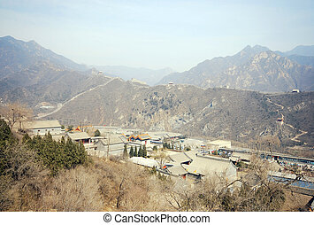 Great Wall of China and ancient chinese village - Majestic...
