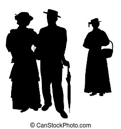 Vintage people silhouettes on white background, vector...
