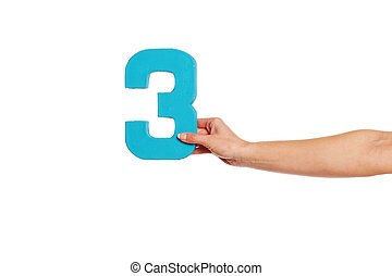 hand holding up the number three from the right - Female...