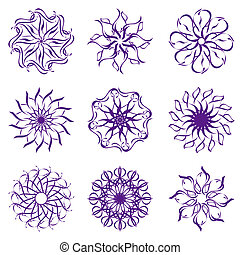 vector illustration of set of snowflakes isolated on white...