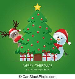 reindeer and snowman behind christmas tree