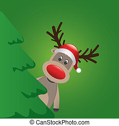 reindeer santa hat behind christmas tree - reindeer with...