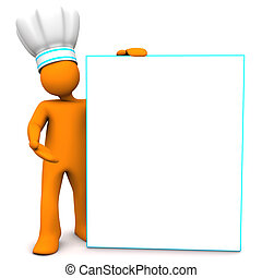 Chef With Sign Board - Orange cartoon character as chef with...