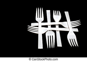 plástico, tenedores