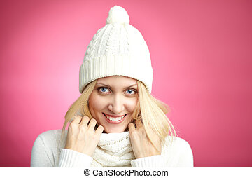 Girl in winterwear - Image of pretty blond girl in white...