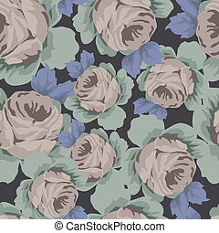 Seamless Rose Pattern - Seamless vector pattern with...