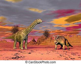 Prehistoric scene - Two prehistorical animals in the desert...