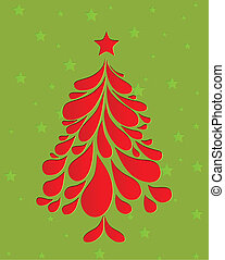 Abstract red christmas tree. Vector illustration