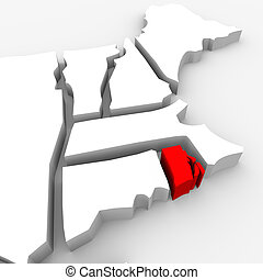 Rhode Island Red Abstract 3D State Map United States America...