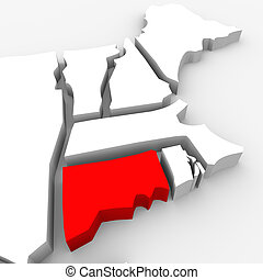 Connecticut Red Abstract 3D State Map United States America...