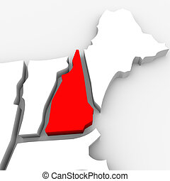 New Hampshire Red Abstract 3D State Map United States...