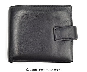 Old Closed Wallet - Black leather worn wallet isolated over...