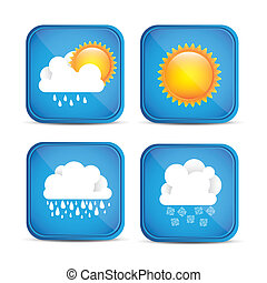 Season icons - Cloud seasons. Spring, summer, autumn and...