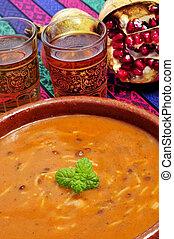 bol, harira, traditionnel, Berbère, soupe, maroc