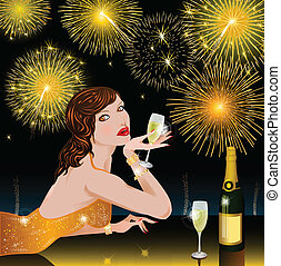 Happy New Year with woman vector