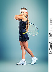 hobby sport - Portrait of a girl tennis player holding...