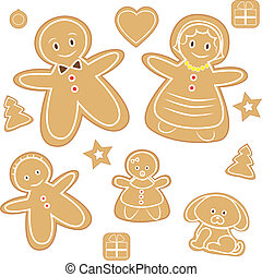 Gingerbread man and family illustration