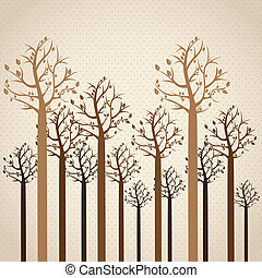 season icon - Trees season, leafless trees in brown colors...