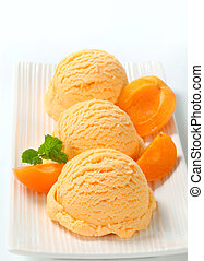 Apricot ice cream - Scoops of apricot ice cream