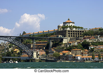 Porto - Castle over big river Duru in the city Porto