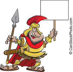Cartoon Spartan holding a sign - Cartoon illustration of a...