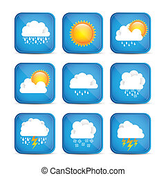 Season icons - Season Icons Season cloud, with sun, rain,...
