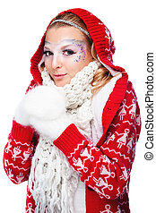 beautiful woman in warm clothing with white mitten