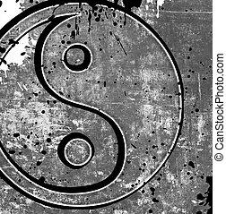 Yin yang symbol on grunge background