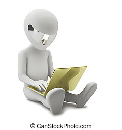 3d person with a golden laptop - 3d small person sitting...