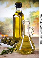 Extra virgin olive oil - Glass bottle of premium virgin...